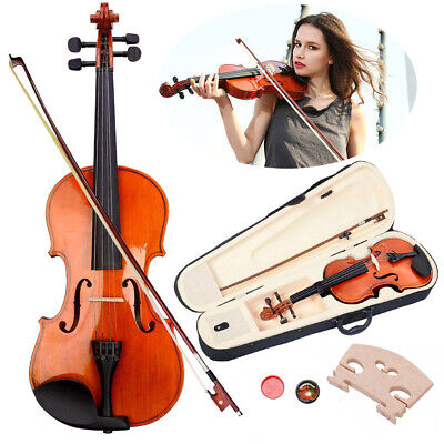 4/4 Full Size Student Violin Natural Acoustic Fiddle with Case Bow Rosin