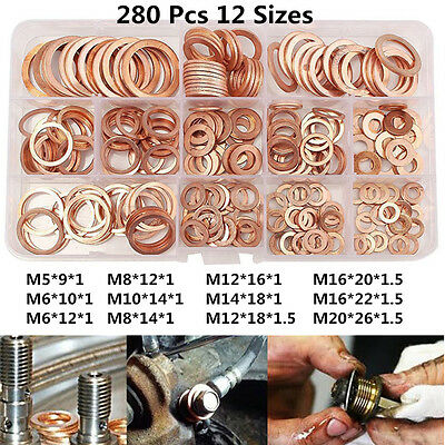 Car Drain Bolt Crush Washer Copper Oil Plug Gasket Seal Ring 280pcs Assortment