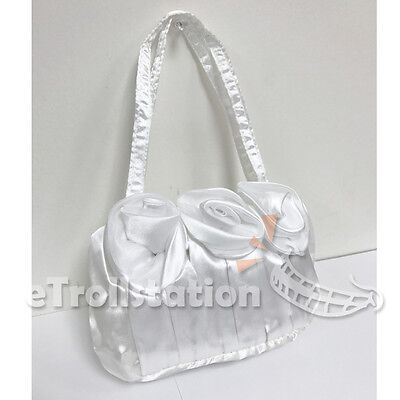ss Up Handbag Evening Wedding Bag 3 Rose Flower Purse White (Dress Up Gril)