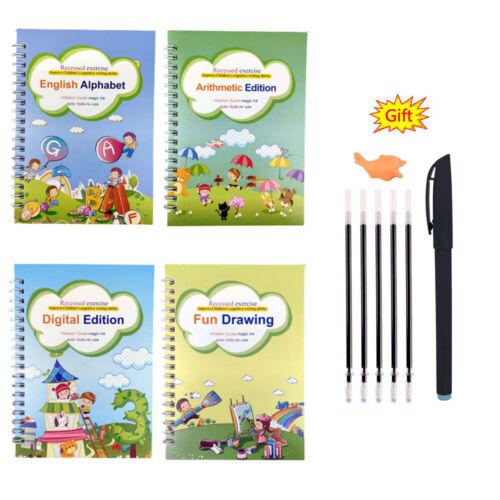 4X Sank Magic Practice Copybook Number Book Writin Preschooler Pen Reusable