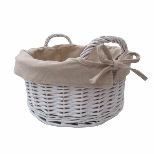 Large Round Wicker Baskets With Handle : Round white wicker storage basket with handles willow
