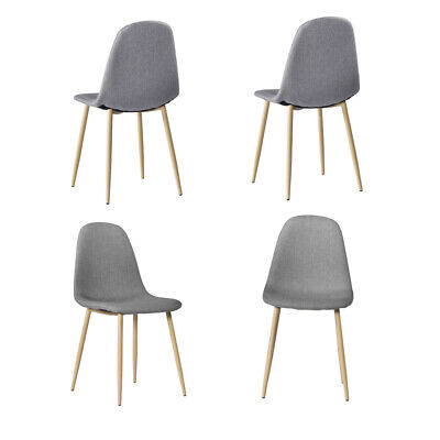 4 PCS Gray Mid Century Modern Style Dining Chair Wooden Legs Fabric & Padded Sea ()