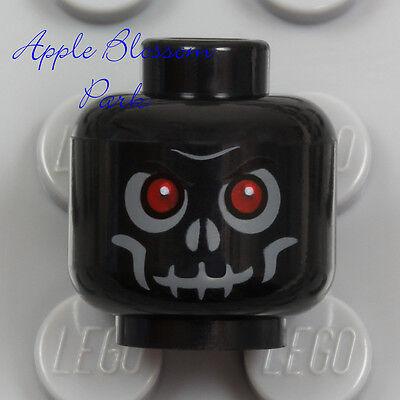 Black Lego Skeleton (NEW Lego Skeleton Skull MINIFIG HEAD Black w/Evil Red Eyes - Halloween)