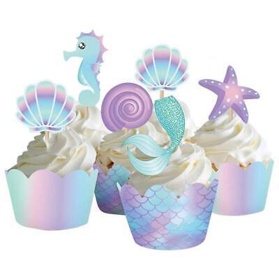 40 Stück Meerjungfrau Cupcake Toppers Wrapper Babyparty Kindergeburtstag Deko