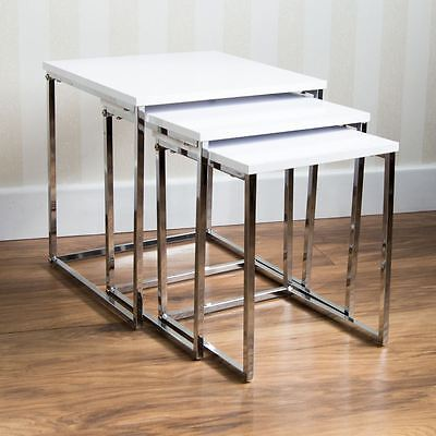 Aztec Nest Of Tables White Chrome Legs High Gloss Square Top By Home Discount