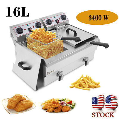 Electric Deep Fat Fryer Non-stick Stainlesssteel Healthy Food Frying Machine 16l