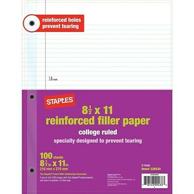 Staples Reinforced Filler Paper College Ruled 8-12 X 11 12 Pack 2072514