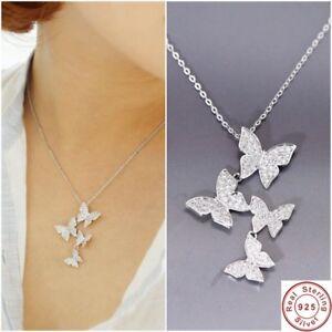 925 Sterling Silver Necklace Crystal Rhinestone Pendant Women Jewelry Butterfly