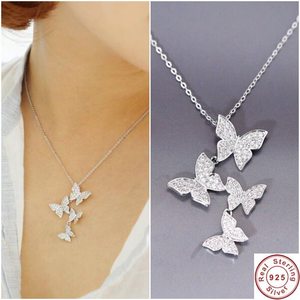 Jewellery - 925 Sterling Silver Necklace Crystal Rhinestone Pendant Women Jewelry Butterfly
