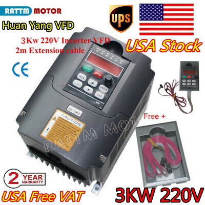 Us Hy 3kw Inverter Vfd 220v Variable Frequency Drive Spindle Vsd Speed Control