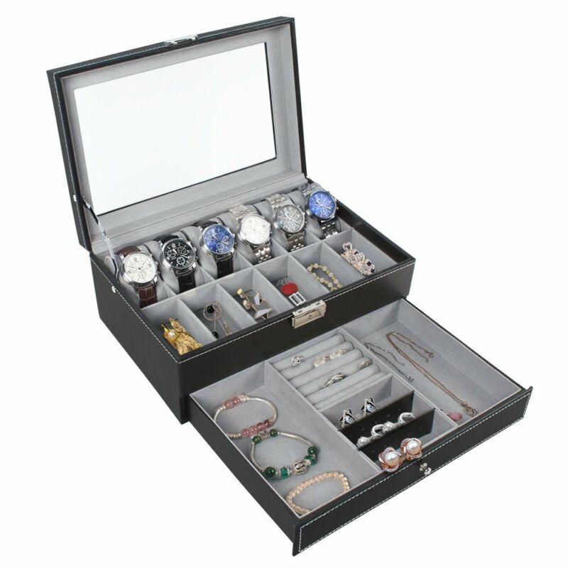 12 Slots PU Leather Watch Case Watch Box Organizer Jewelry Display Drawer Mens.