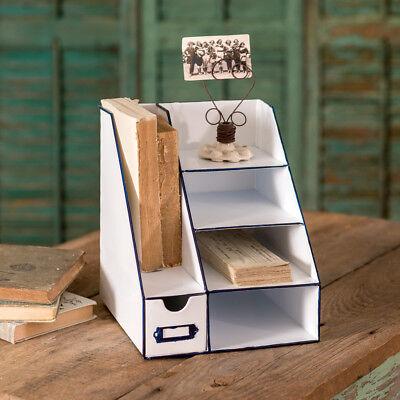 Desktop Office Supplies Organizer Metal Six Bin Caddy Storage Vintage Rustic New