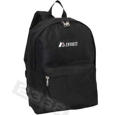 11 x 15 x 5 inch A mid-size Front zippered pocket Basic Backpack Black