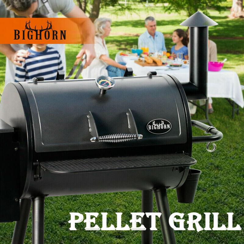BIG HORN Pellet Grill Wood BBQ Grill Smoker Auto Temperature Control Black US
