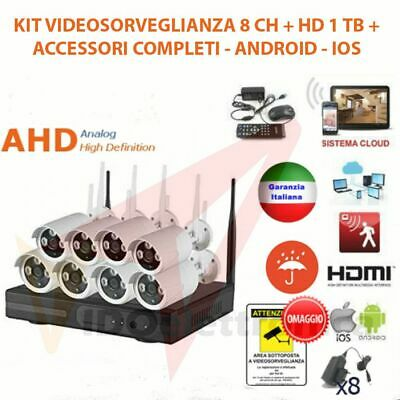 KIT VIDEOSORVEGLIANZA WIRELESS FULL WIFI HD IP 8 TELECAMERE NVR LAN REMOTO 3G HA