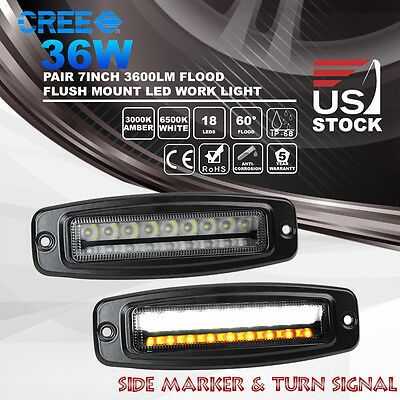 2x 7inch CREE 36W LED Work Light Bar Flush Mount Flood Turn Signal Driving Lamps