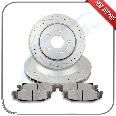 For 2004-2008 Cadillac XLR 97-12 Corvette Rear Brake Rotors And  Ceramic Pads