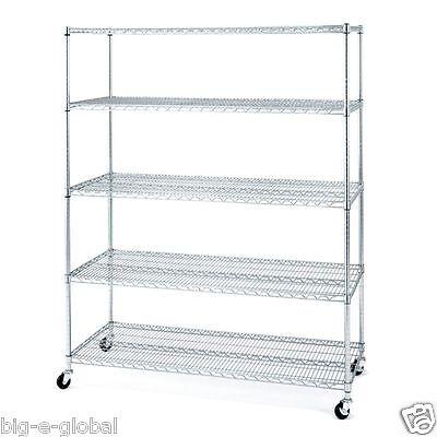 Rolling Commercial Garage Metal Storage Wire Shelving Shelf Rack 60 X 24 X 72