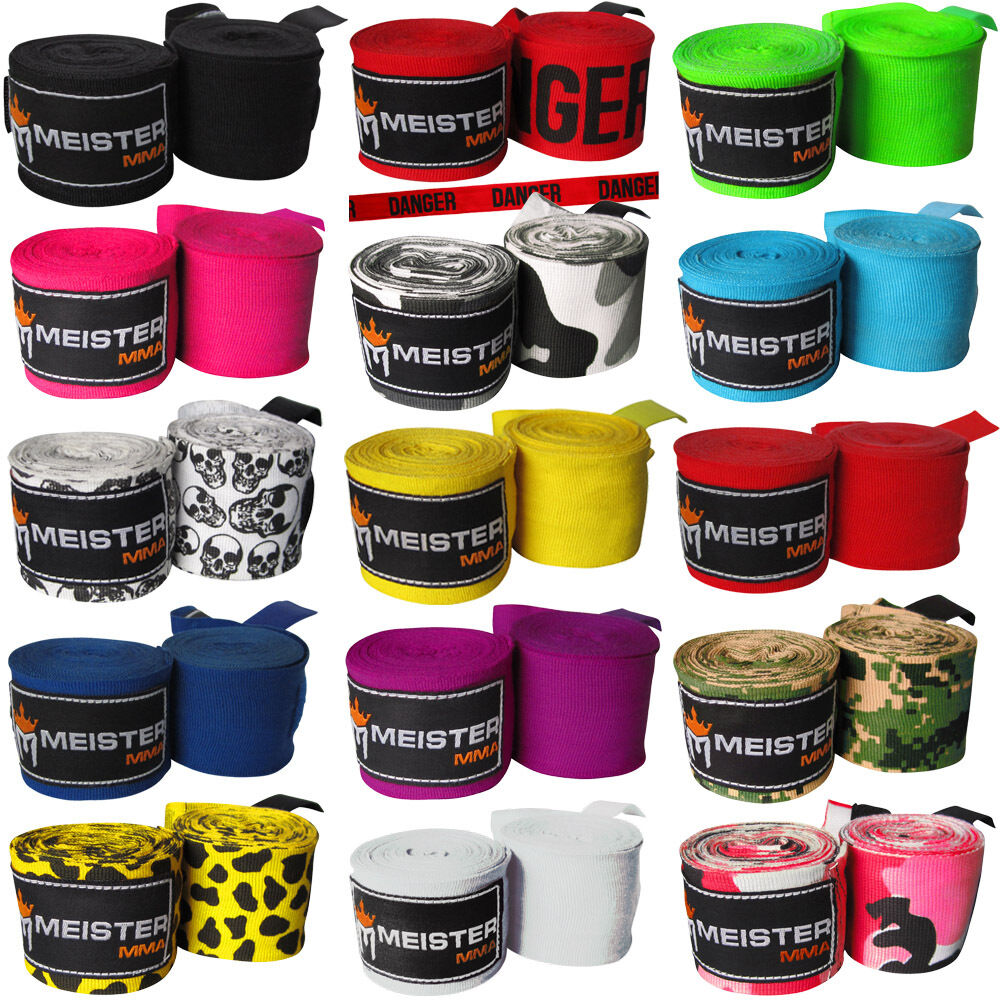 "как выглядит MEISTER 180"" SEMI-ELASTIC HAND WRAPS - PAIRS MMA Boxing Mexican Lot ALL COLORS фото"