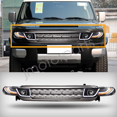 One Pair Halo Projector Led Headlights w/ Grille For 2007-15 Toyota FJ Cruiser