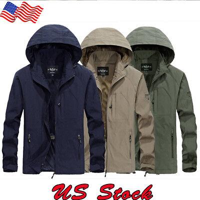 Men Windproof Hooded Zip Warm Coat Snow Rain Jacket Outwear Outdoor Clothes USA