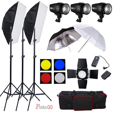 540W Photo Flash light Kit Photography Lighting Studio Strobe LIGHT 3 x 180W UK
