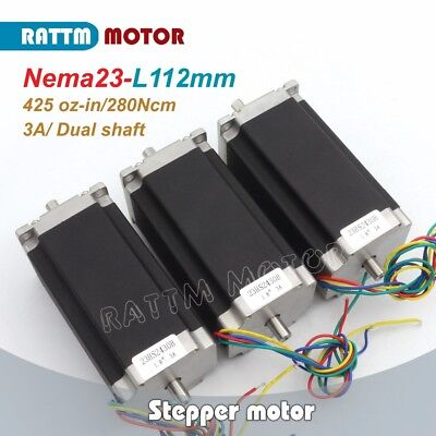 3pcs Dual Shaft Nema23 Stepping Motor 112mm425oz-in3a For Cnc Milling Machine