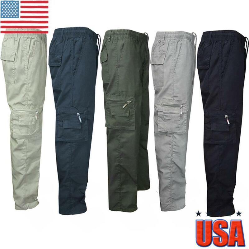 Men Casual Cargo Combat Work Pants Army Military Trousers Slim Pocket Bottoms Us