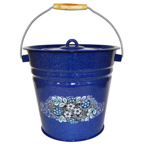 Blue Enameled Bucket w/ Lid Vintage Style Vedro Made in Russia Pickling, 12.7 qt