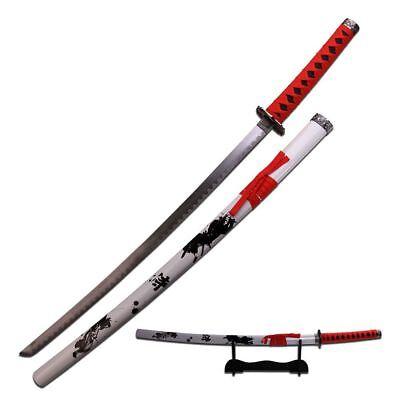 "JAPANESE SAMURAI SWORD KATANA | 40"" Black Red White Carbon Steel + Wood Stand"