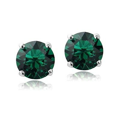 Sterling Silver Green Stud Earrings  Made with Swarovski Crystals