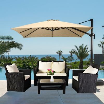 Garden Furniture - Furniture Wicker Rattan Patio Outdoor Conversation Sofa Set Garden Table Black