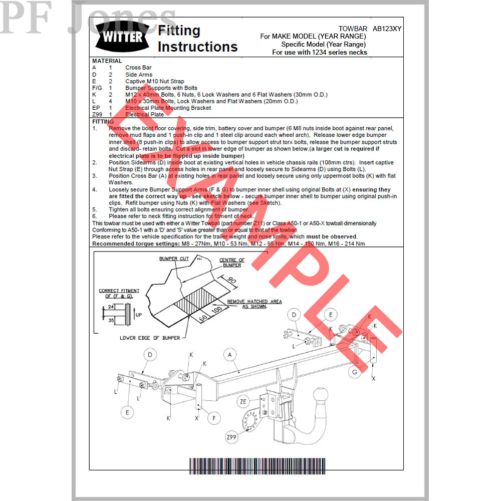 Witter Towbar For Fiat Ducato Van 2006 On Flange Tow Bar Ebay Motorhome Wiring Diagram