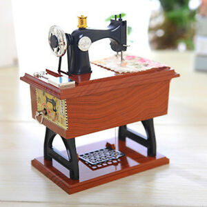 Vintage Music Box Mini Sewing Machine Style Mechanical Birthday Gift Table Decor
