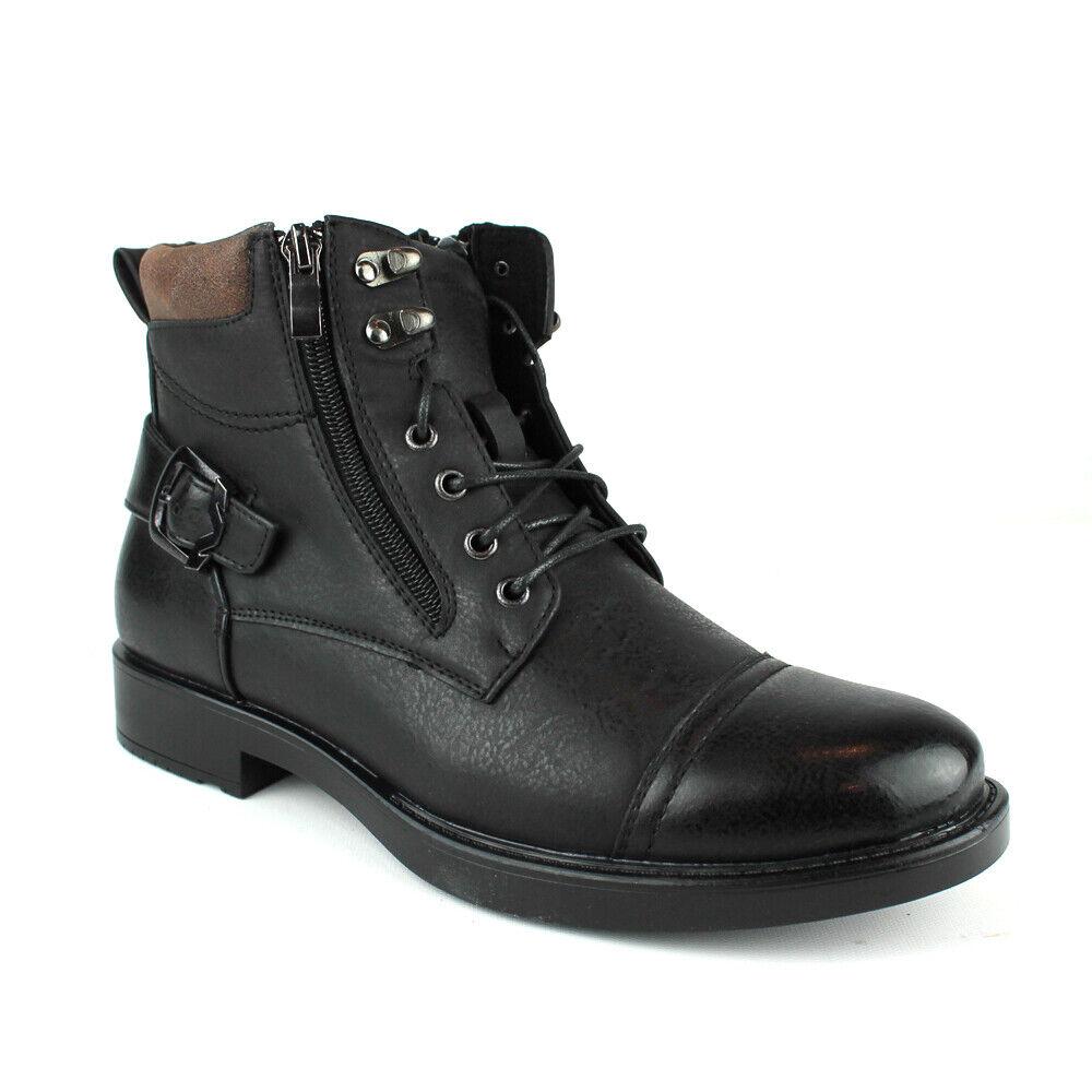 New Mens Dress / Casual Ankle Boots Lace Up Black Cap Toe Zipper Alberto Fellini
