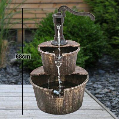 Spring fountain wood optics water game piston pump outdoor garden terrace brown