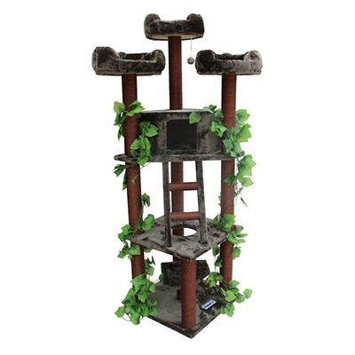 Kitty Mansions Redwood 75 in. Cat Tree, 75