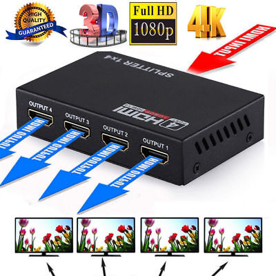 HDMI Splitter 4 Fach 1080p 4K Schalter für 3D Verteiler Full HD 1 in 4 out