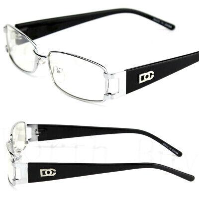 New Mens Women Designer Clear Fake Lens Glasses Fashion Silver Rectangular (Fake Glasses Mens)