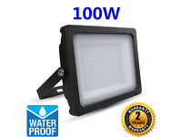 Bright 100W Quality Slimline Slim SMD LED Floodlight Security Cool White/Day White 2 Years Warranty