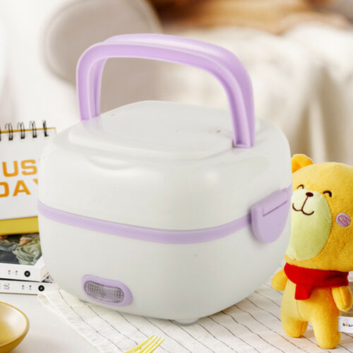 110V 1L Electric Lunch Box Steamer Pot Rice Cooker Plastic+S