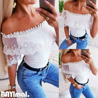 Womens Lace Off Shoulder Slim T Shirt Ladies Casual Short Sleeve Blouse Tops Tee