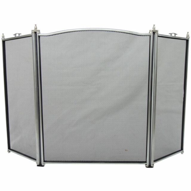 Fire Screen Pewter 3 Panel Guard Protector Fireplace Fireside By Home Discount