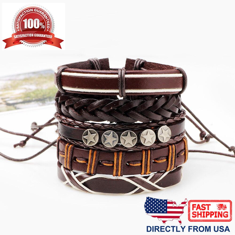 5pcs Set Coffee Braided Leather Star Punk Rock Men Women Cuff Wristband Bracelet Bracelets