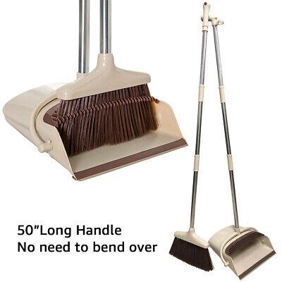 "Extendable Broom Dustpan Combo Sweep Set 50"" Long Handle Home Kitchen Dust Clean"