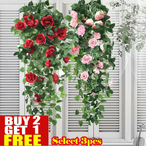 Home Decoration - Artificial Fake Hanging Rose Flowers Vine Plant Home Garden Decor In/Outdoor N
