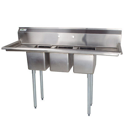 58 Nsf 3 Compartment Stainless Steel Commercial Pot Sink With Two Drainboards