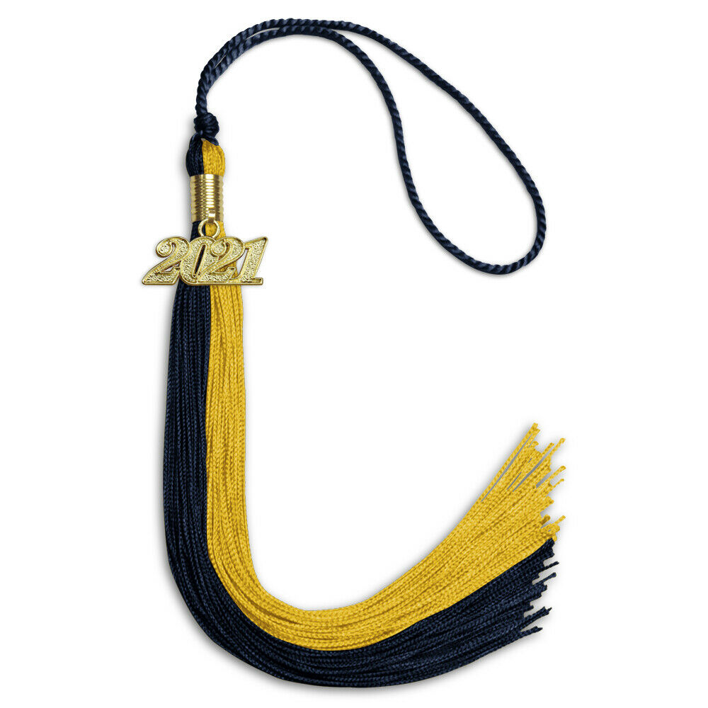 Endea Graduation Double Color Tassel with Silver Bling Charm Black//Bright Gold, 2021