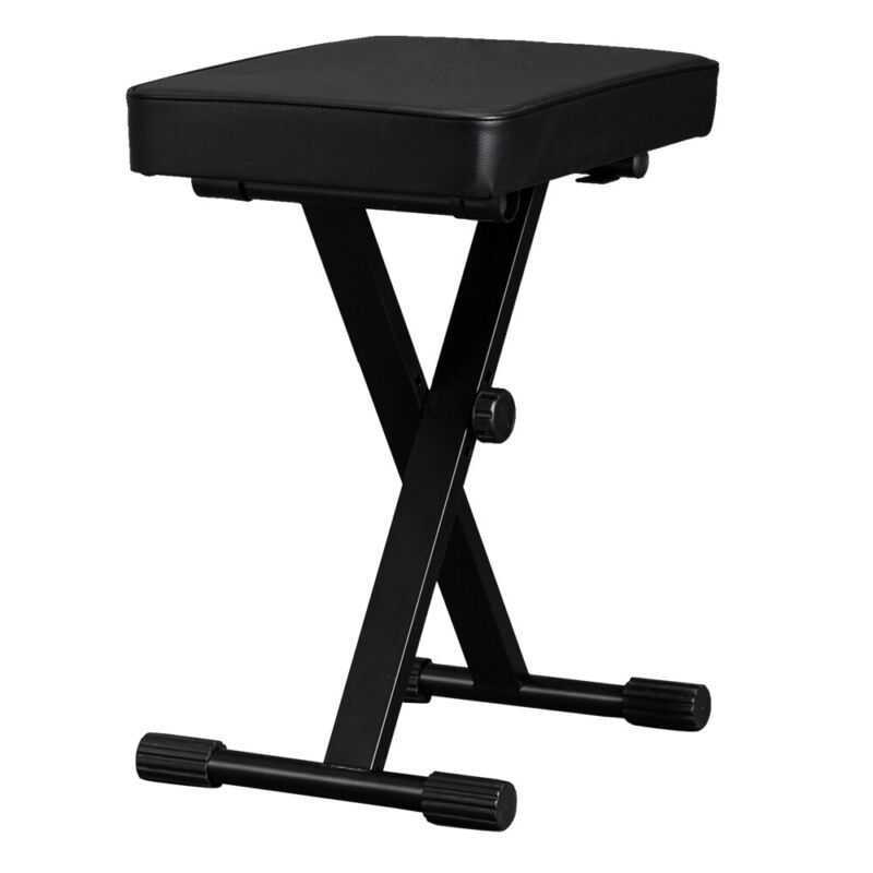Keyboard Bench Leather Adjustable Seat Padded Folding Stool Chair Piano Black