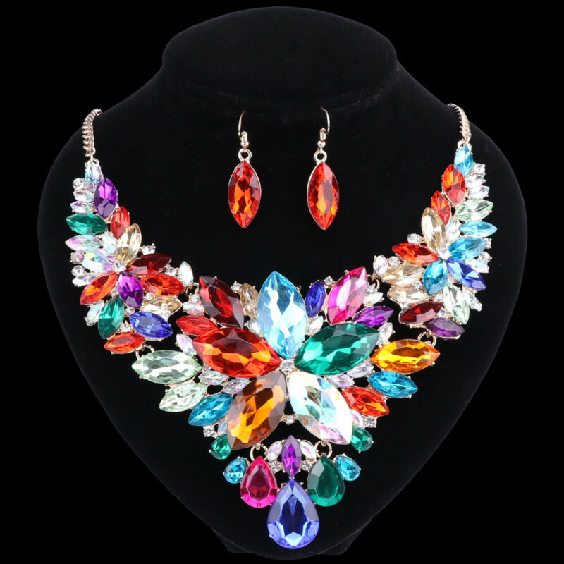 Fashion Women Luxury Gold/Plated Crystal Necklace Earring Party Jewelry Set